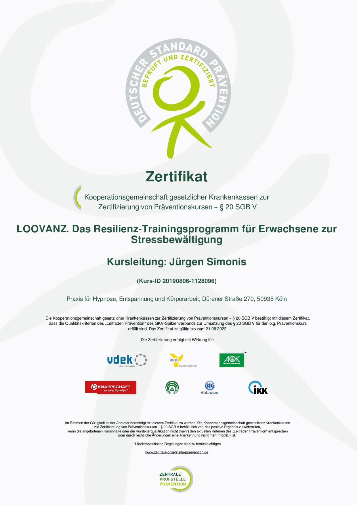 Zertifizierung-Resilienz-Trainingsprogramm